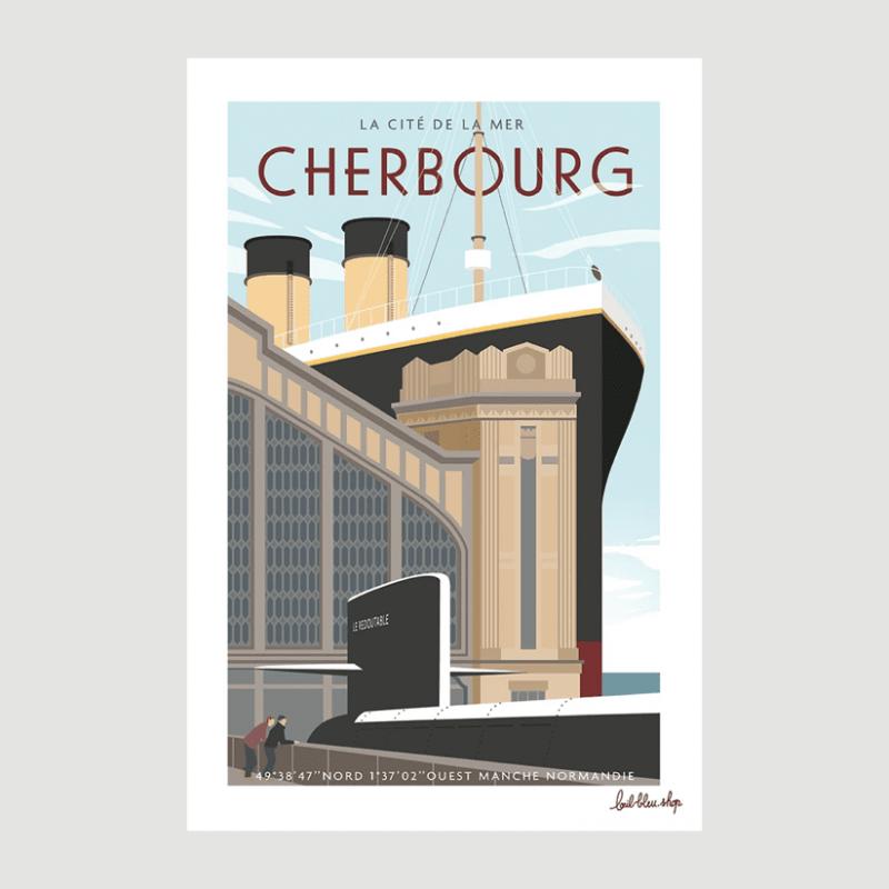 Affiche la Cité de la Mer - L'Oeil Bleu